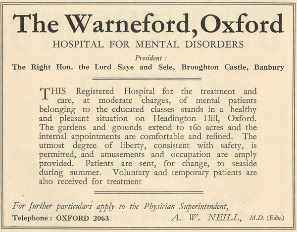 Warneford advertisement, 1935