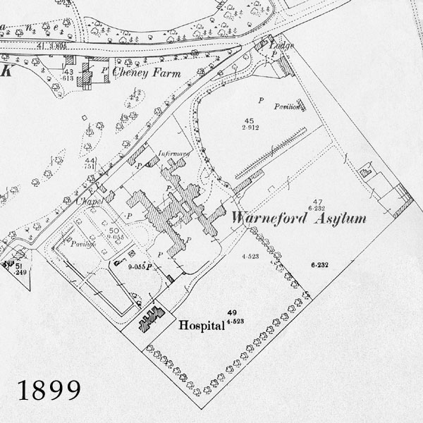 1899 map showing Warneford Asylum
