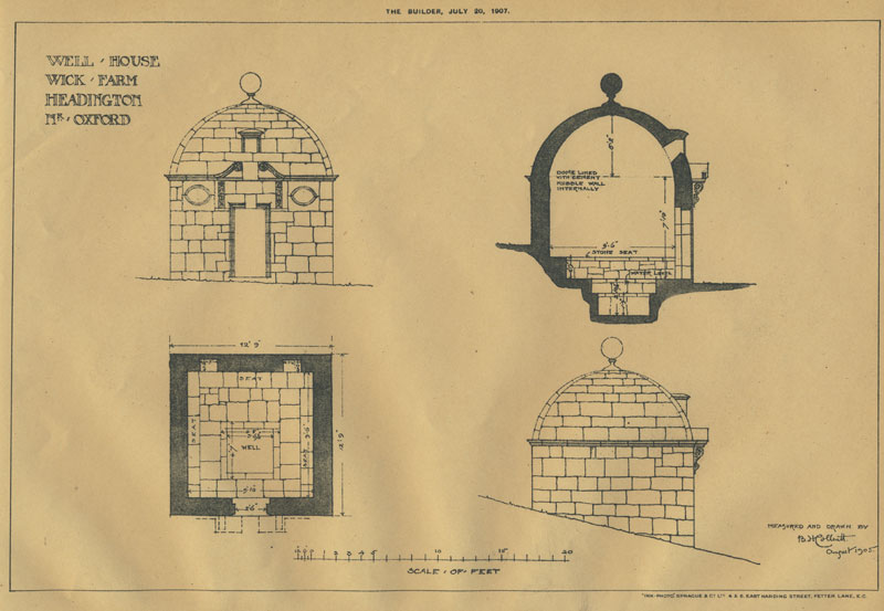 Drawings of well house in The Builder