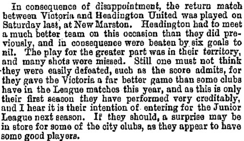 Report on Headington United v. Victoria, 1894