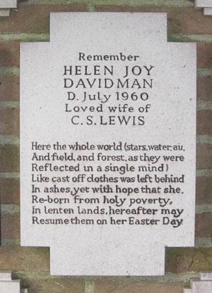 Davidman plaque at crematorium