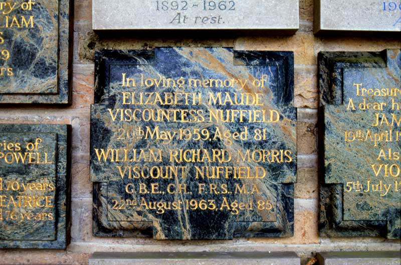 Nuffield plaque in crematorium