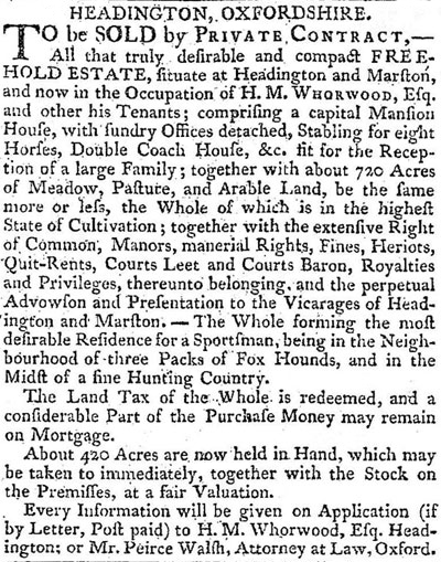 Sale of Manor, 1804