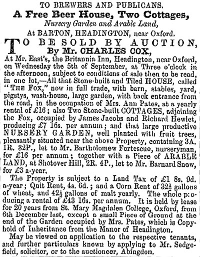 Fox for sale in 1860