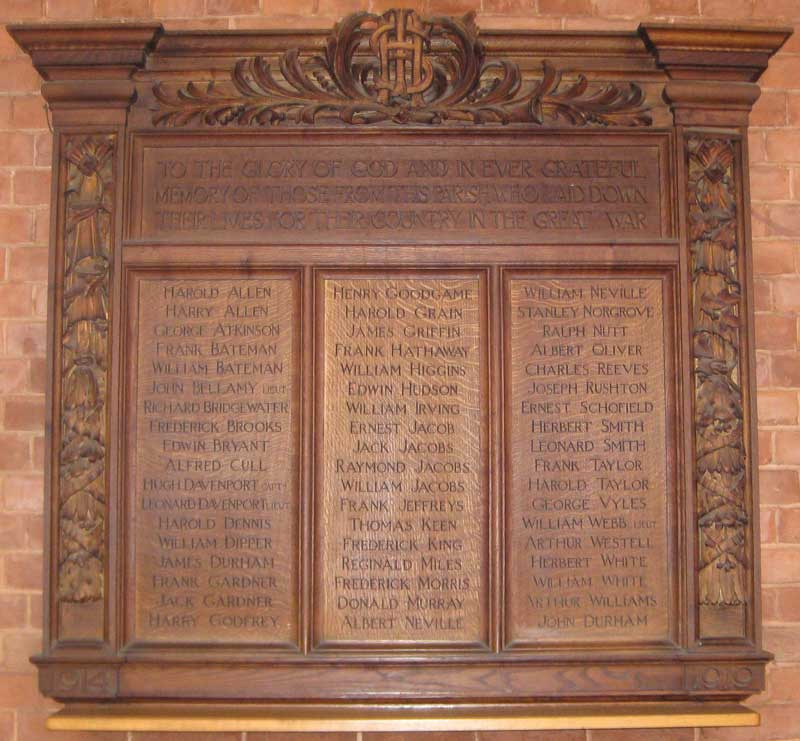 Board listing the dead in All Saints' Church