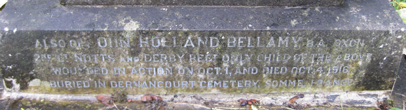 Bellamy grave in Holy Trinity churchyard