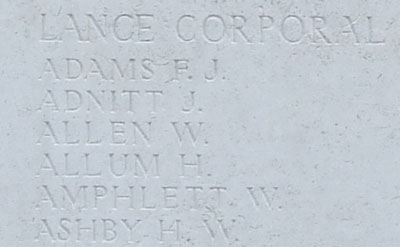 Allum's name on Tyne Cot Memorial