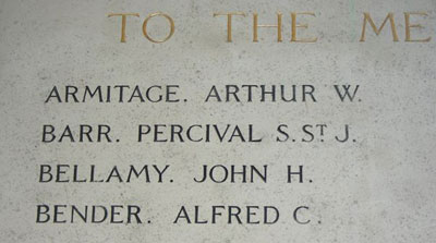 Bellamy's name on the Queen's roll of honour