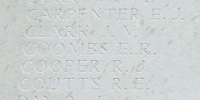 Coombs's name on Tyne Cot Memorial