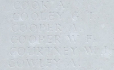 Cooper's name on Tyne Cot Memorial