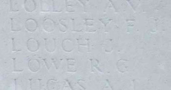 Jesse Louch on Tyne Cot Memorial