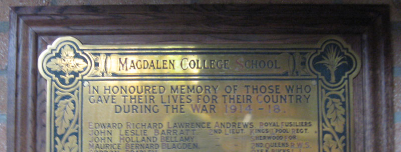 Memorial in Magdalen College School with John Bellamy's name