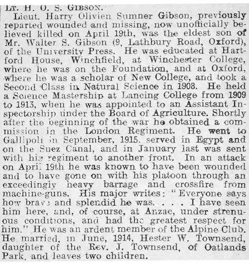 Obituary of Harry Gibson