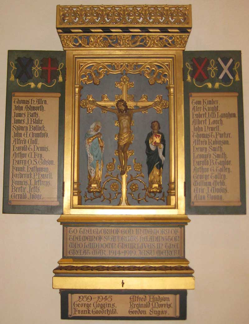 Names of war dead inside St Andrew's Church