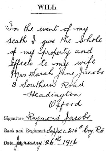 Will of Raymond Jacobs