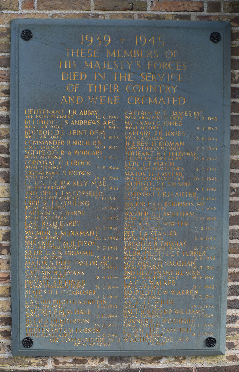 Close-up of Crematorium plaque